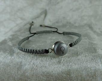 Soft grey geeky, recycle button, adjustable bracelet bracelet bracelet