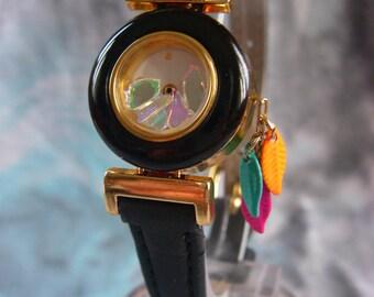 Wristwatch Sari, gold, and black leaves Quartet of colors