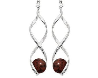 Swirl silver plated - mahogany (mahogany) Obsidian earrings