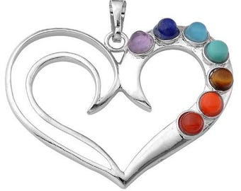 Heart shaped silver plated - 7 chakras