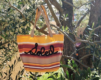"""Cotton thick """"Southern""""canvas tote personalized with knitting"""