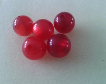 5 beautiful round red beads 12 mm for jewelry making