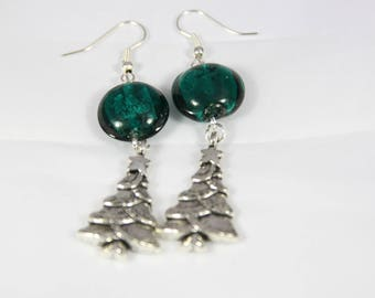 Beautiful earrings with silver metal, 64 mm glass beads
