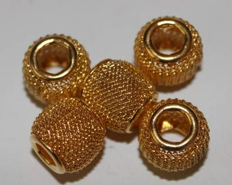 Basket gold 12 mm, set of 5 beads