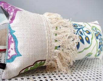 Hold back Bohemian chic floral fabric and cushion ethnic fringe