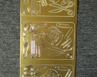"""Sheet of stickers in relief, pattern """"office equipment"""" gold plated"""