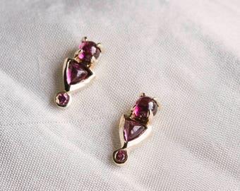 Rhodolite Garnet 14kt Yellow Gold Earrings /