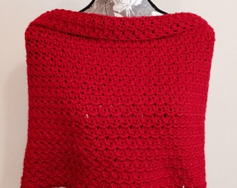 Red Handmade Crochet Infinity Shoulder Wrap