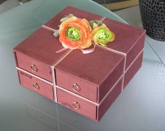 Jewelry Brown moiré 4 drawer box