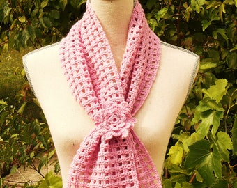 Pink crochet scarf and flower