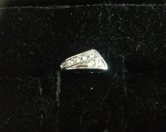 Silver plated ring & rhinestones size 56