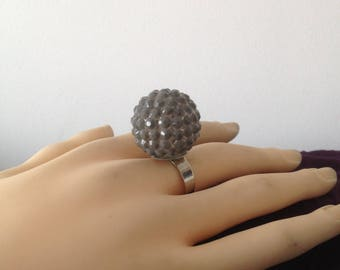 Grey ball rhinestone Adjustable ring