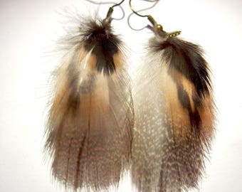 Earrings ethnic feathers finely mottled