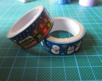 set of 2 rolls of masking tape blue winter