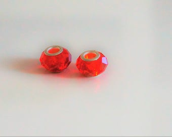 set of 2 faceted glass beads, style pandora charms, 14 * 8 * 5 mm