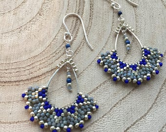 Lola - gray and blue earrings