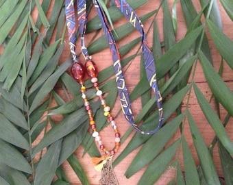 Long necklace mi - copper leaf - Ribbon and semi precious stones