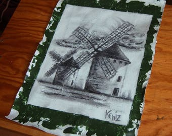 Drawing on canvas in charcoal Mills