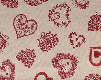 Cotton printed hearts scrolls Rouges - coupon 30 x 90 cm - Ref 13020104