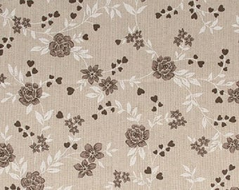Printed cotton Taupe flowers - coupon 30 x 90 cm - Ref 13020106 - until the stock!