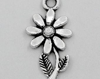 50 pendants 19x10mm sunflower flower charms