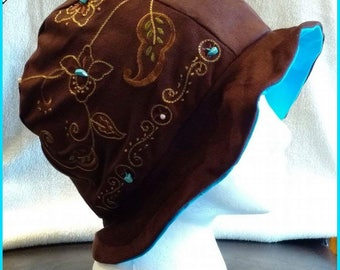 Cherokee ~ Handcrafted from recycled clothing, Cloche, Flapper Style, Chemo Hats