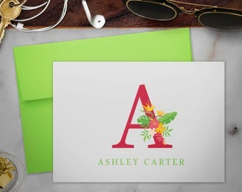 Personalized Stationery Note Cards Set with Envelopes   Tropical Monogram