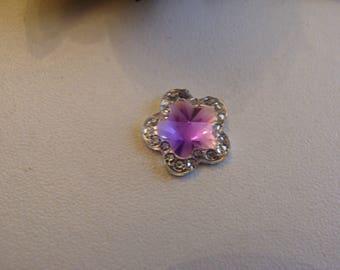 resin flower cabochon cut bottom flat purple heart faceted 1.1 cm
