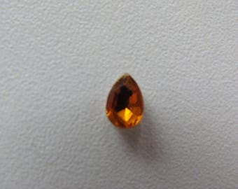 Amber Glass oval rhinestone cabochon faceted 6 * 4 * 2 mm