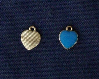 2 blue metal heart charms gold