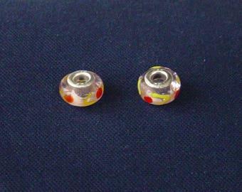 2 beads yellow, red and transparent pink Lampwork bracelet snake