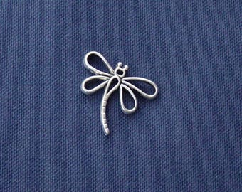 Dragonfly charm in antique silver