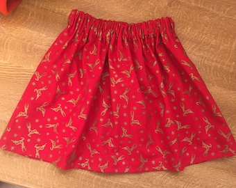 Red and gold reindeer skirt