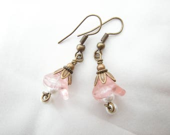 Earrings 'flowers of pink and Pearly beads'