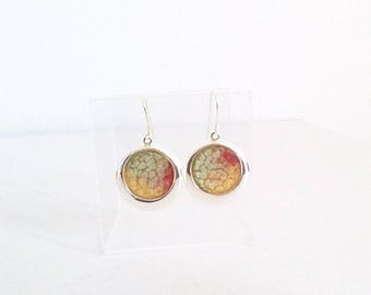Earrings, green red and gold almond, light collection.