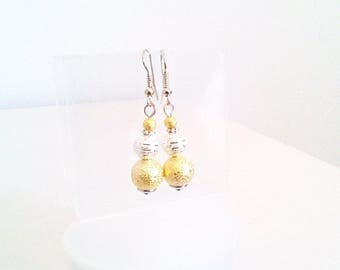 Earrings 'gold and silver beaded Rod'