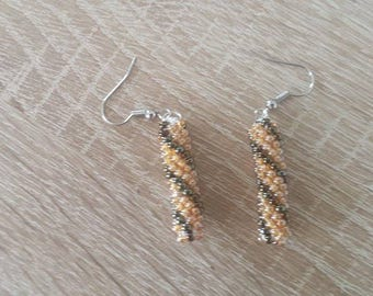 Orange hand made beaded earrings