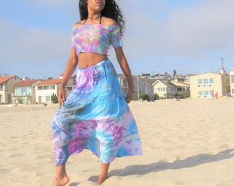 Hippie Tie-dye flowing skirt