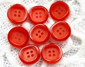set of 8 buttons red resin 4 hole vintage 13 mm