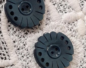 Pair of vintage button Brown 25 mm