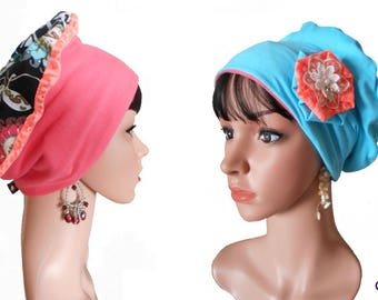 """Chemo REVERSIBLE beret """"Annabelle"""" & its removable fabric flower"""
