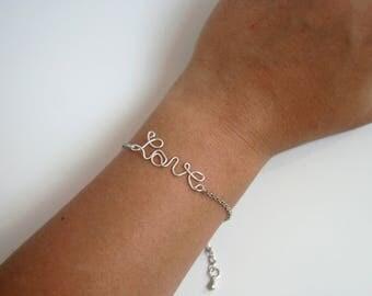 Inscription in aluminum wire chain bracelet - handmade