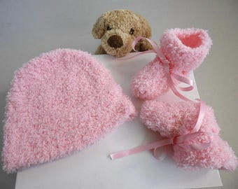 Hat and pink baby booties knitted wool baby handmade