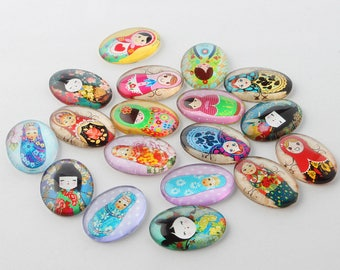 set of 25 oval cabochons 25x18mm, Russian doll theme and kokeshis