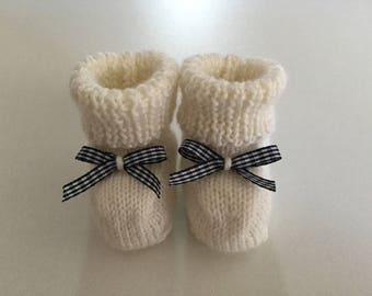 Blue Gingham Bow and cream baby booties
