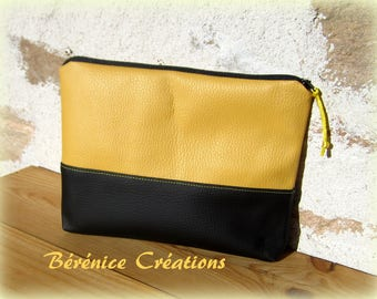 """Clutch purse flat """"pep's color"""" mustard yellow"""