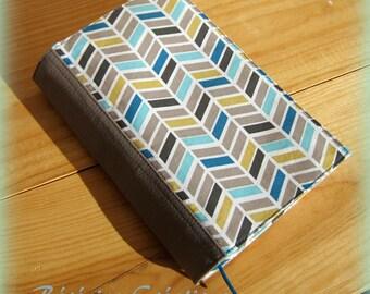 Adjustable pocketbook Chevron blue and beige