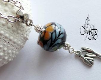 Long necklace - pendant bead Lampwork