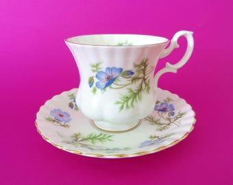 Free Delivery! Vintage RICHMOND Bone China England Blue Poppy Demitasse Teacup & Saucer Set
