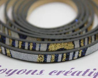 1 m strap leather Blue Gold White sequin 5mm - jewelry - PS016N02 Creation-